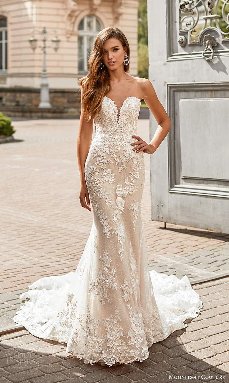 Moonlight Couture Spring 2021 Wedding Dresses Wedding Inspirasi Wedding Dresses Lace Wedding Dress Trends Sheath Wedding Dress Lace [ 1500 x 900 Pixel ]