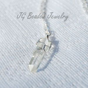 Etsy clear quartz crystal necklace wire wrapped by jgbeadedjewelry etsy clear quartz crystal necklace wire wrapped by jgbeadedjewelry 12 aloadofball Choice Image