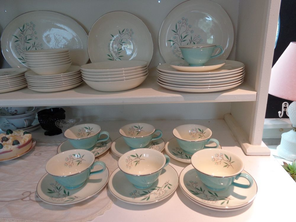 53 pc 1959 Homemaker Dish Set Taylor Smith \u0026 Taylor Petal Lane Turquoise Dishes : turquoise dishes dinnerware - pezcame.com