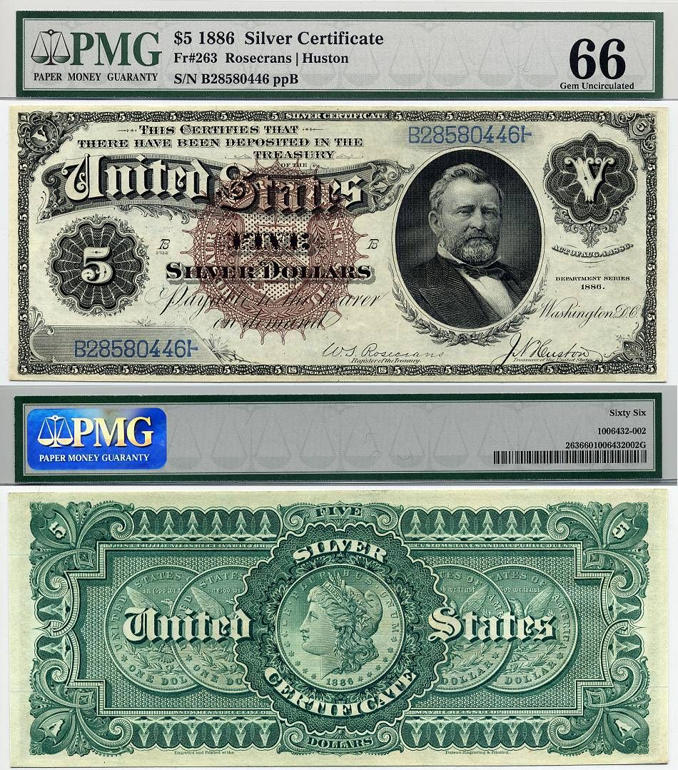 Us Currency 1886 5 Silver Certificate Silver Dollar Back Fr