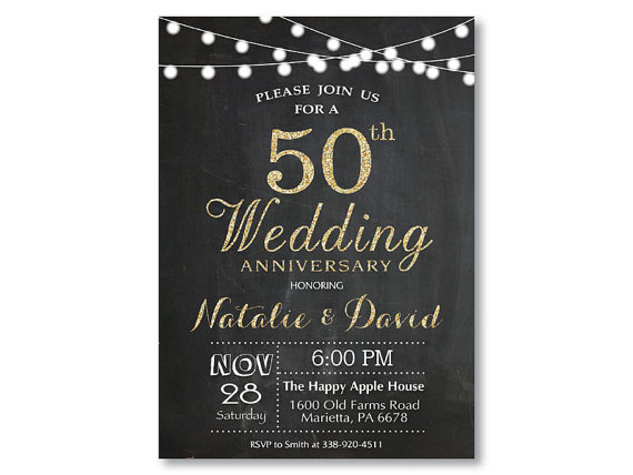 Surprise Wedding Anniversary Invitations: 50th Wedding Anniversary Invitation. Gold By