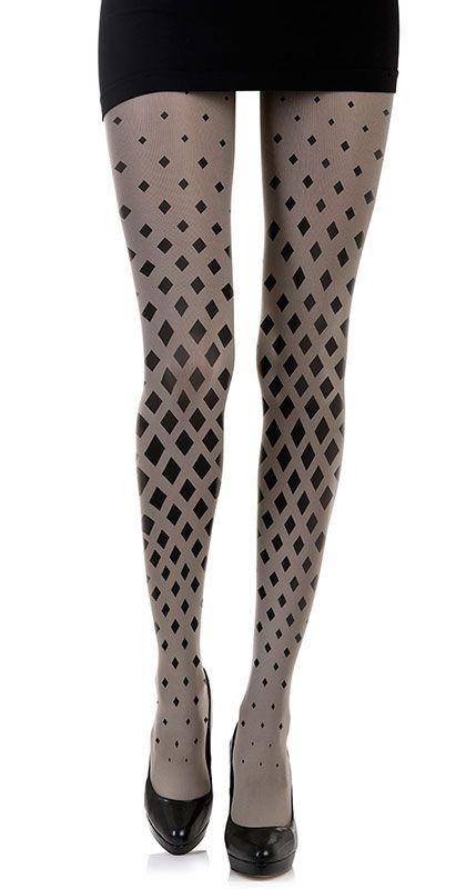 6353b74c5d380 Create a fun & stylish Look with these Diamonds Pattern Print Tights Grey &  Black #TrendyLegs $35.95