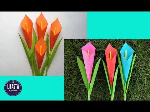 Diy Cara Membuat Bunga Lili Cantik Dari Kertas Origami Youtube Kartu Bunga Gambar Bunga Origami