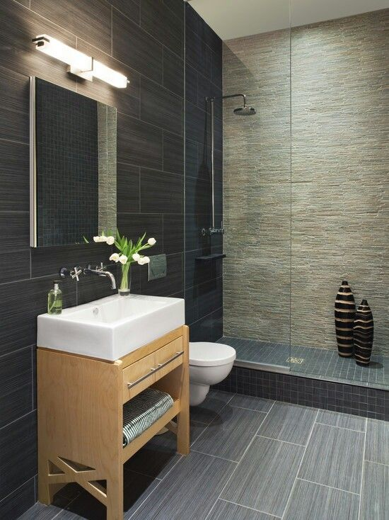 Nice combination of bathroom tiles - 1 for floor, 1 for ...