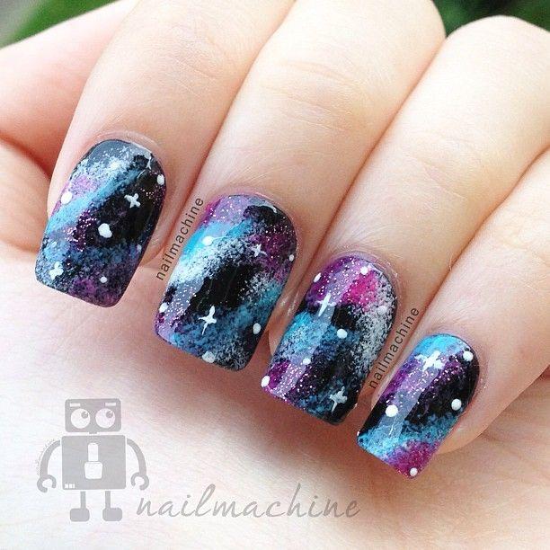 Galaxy Nails by Nail Machine | Galaxy Nails | Pinterest | Galaxy ...