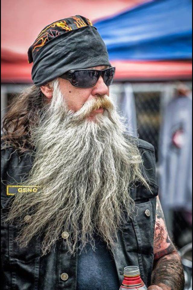 Huge White Gray Beard Nice Coloration Natural Full Length Mustache Bearded Beards Man Men Biker Zitate Lebensweisheiten Motorrad Fahren