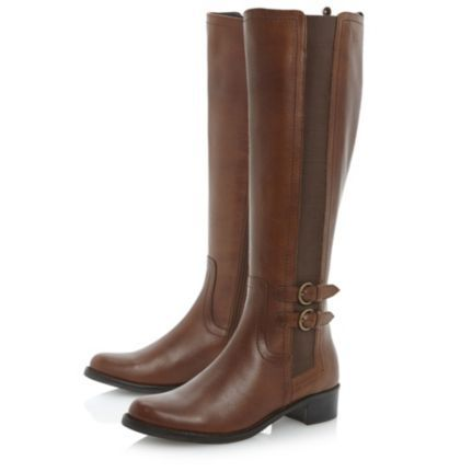 94bf13311ff6f9 dune ladies tan elasticated panel buckle trim riding boot, dune shoes online