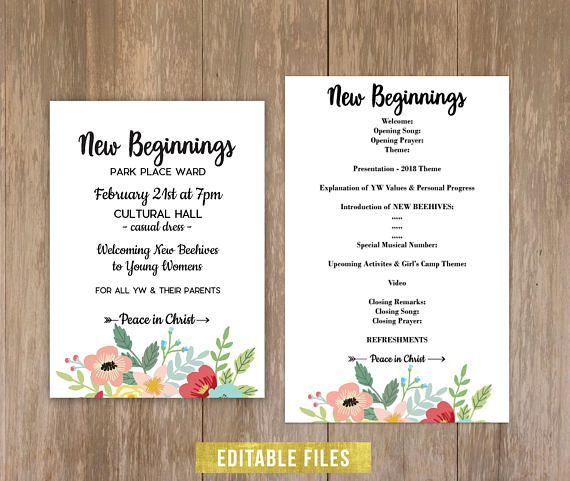 New beginnings 2018 peace in christ editable printable instant new beginnings 2018 peace in christ editable printable instant download invitation program learn of me young women peace young women and stopboris Images