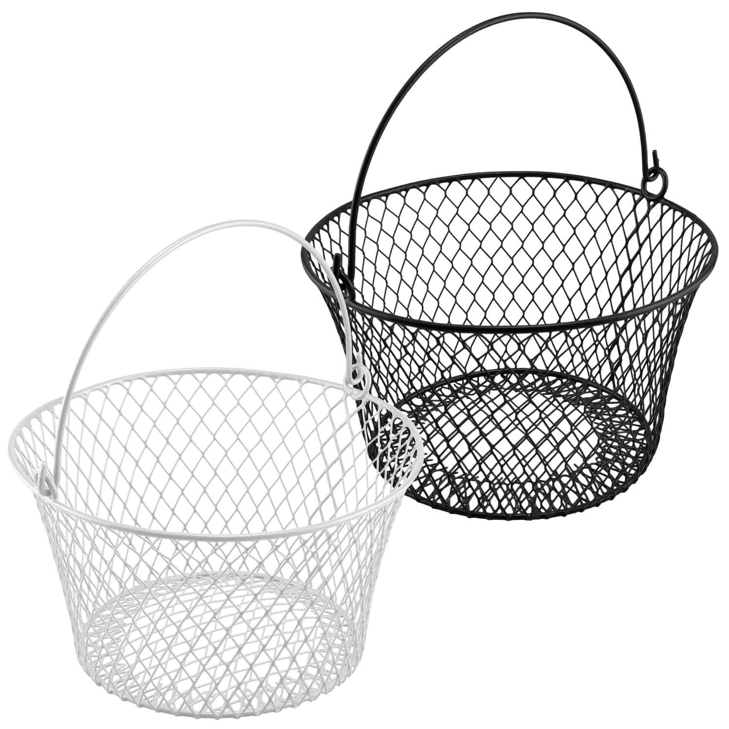 Essentials Round Vinyl Coated Wire Baskets 7 875x4 5 In