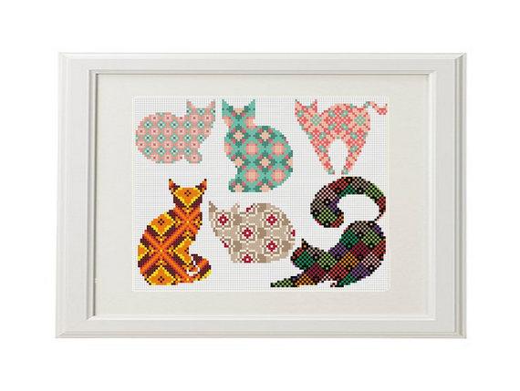 Cat padrão de ponto cruz gato Jogo de 6 gatos bonitos cruz Geometric ponto animais ponto cruz Multicolor ponto cruz moderna do ponto da cruz