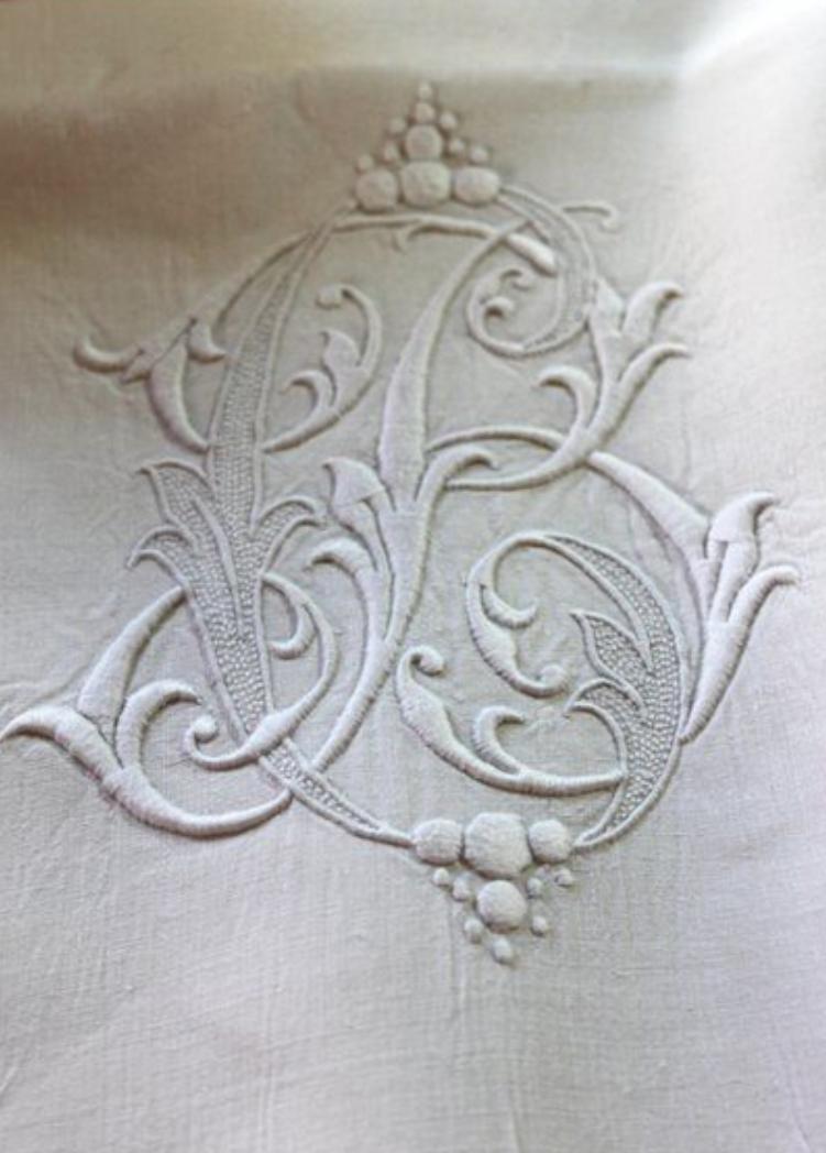 ⌖ Linen & Lace Luxuries ⌖   antique B monogrammed linen sheet