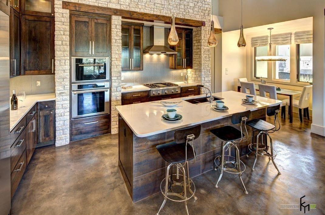 attractive cream brick wall ideas for lavish kitchen with