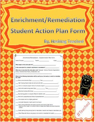 Enrichment And Remediation Student Action Plan Template Form From