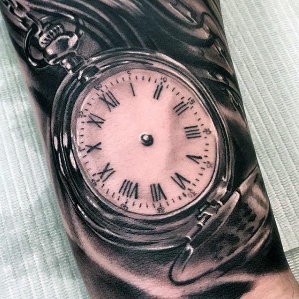 Taschenuhr tattoo  Fantastische detaillierte schwarze und weiße antike Taschenuhr ...