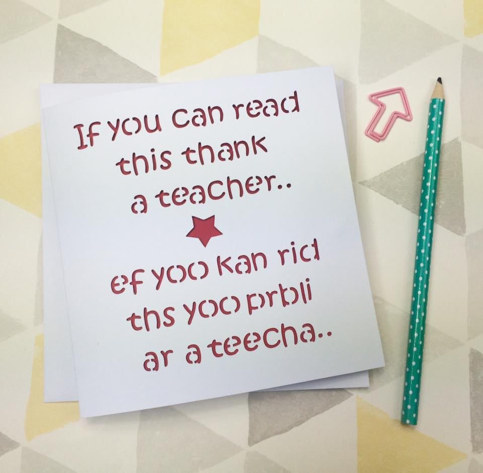 Teacher Card Funny Teacher Card Thank You Teacher Teacher