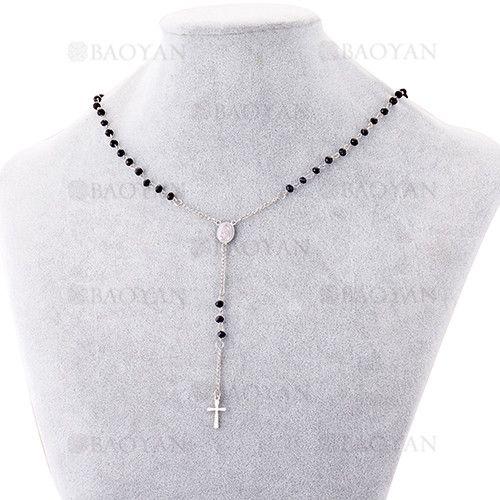 fc36cb9d6278 collar de bolas con cruz de plateado en acero para mujer-SSNEG463670 ...