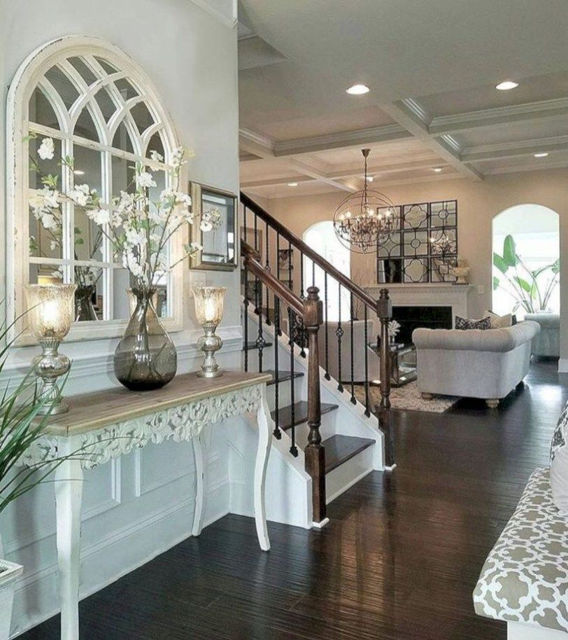 Diy farmhouse entryway inspiration arch mirror entry table with hallway decor also awesome french home decoration ideas living room pinterest rh