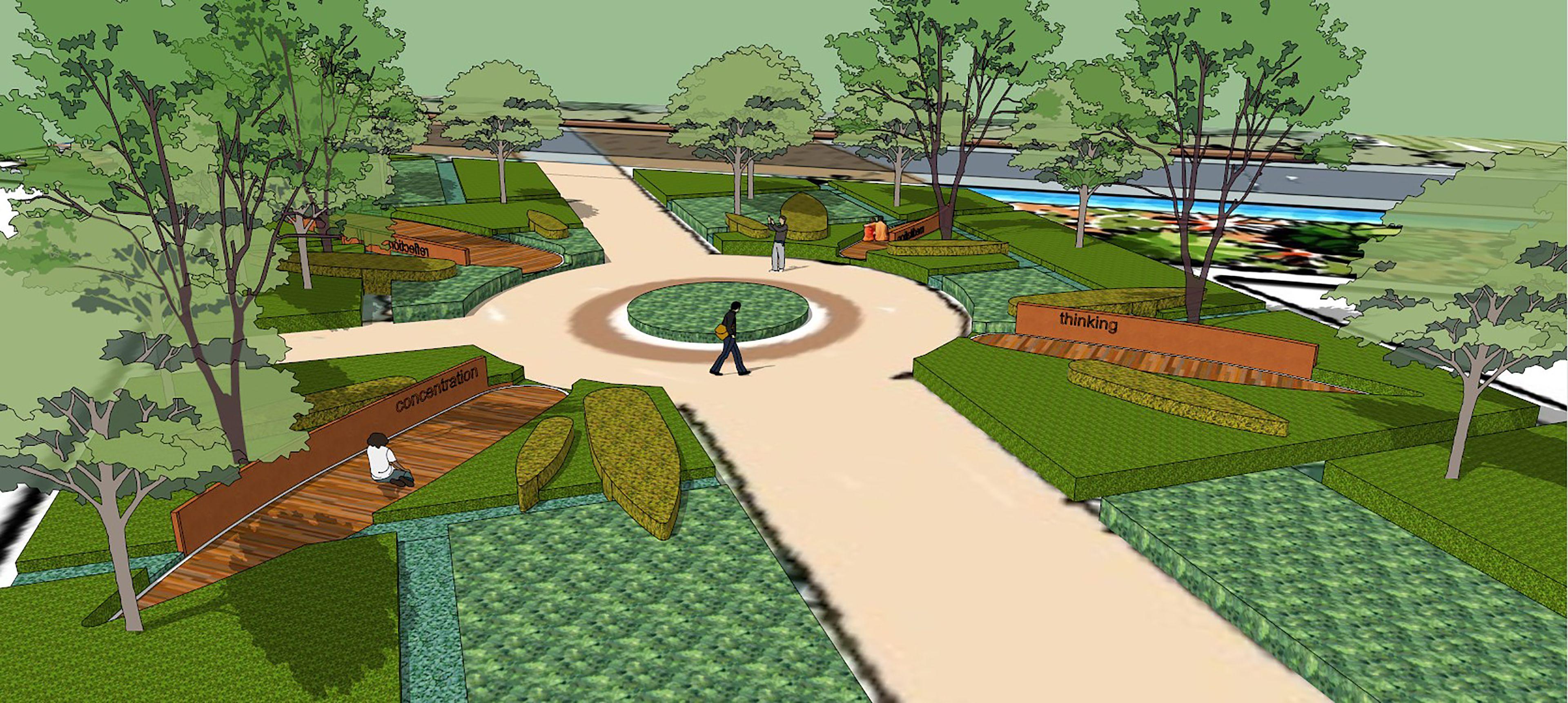 Landscape Design Perspective University Park Modern Landscape Step Landscape Design Curving Landscape Land Landscape Concept Landscape Modern Landscaping