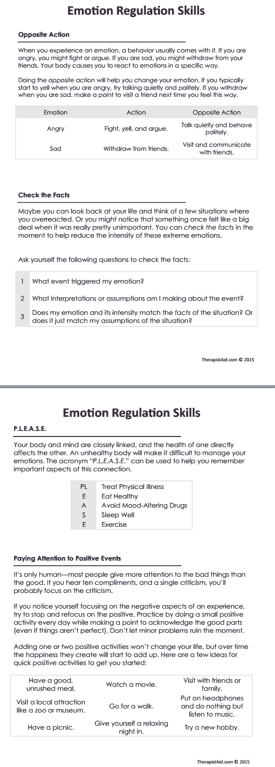 worksheet Communication Skills Worksheets For Adults dbt emotion regulation skills preview adhd pinterest therapy preview