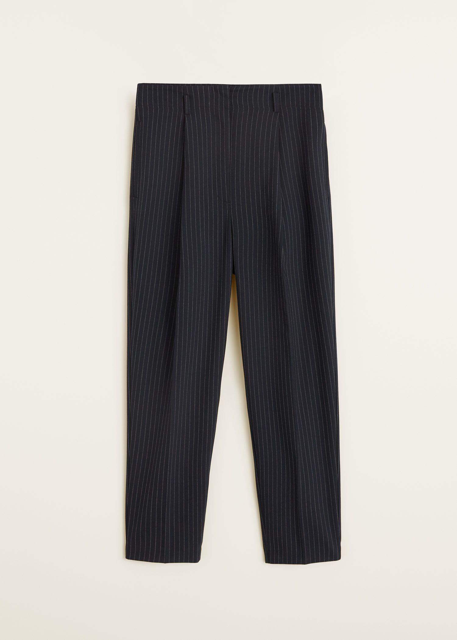 Mango Diplo Dark Navy Pinstripe Suit Pants