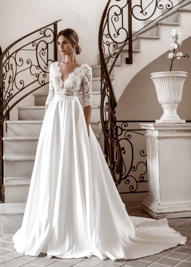 Long sleeves satin skirt embroidered belt lace wedding dress train elegant classic ivory closed modern simple wedding bride gown button sexy