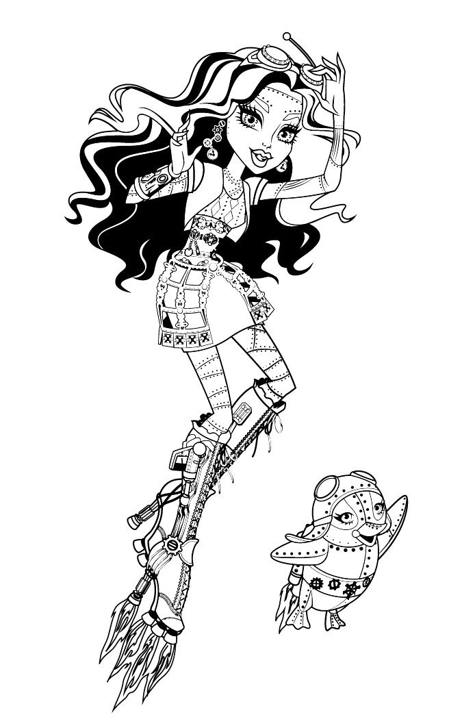 Monster high robecca steam fly with pets penguin coloring for Monster high pets coloring pages