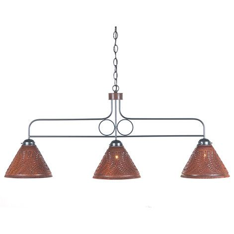Large Franklin Hanging Country Kitchen Island Light in Rustic Tin w// Chisel