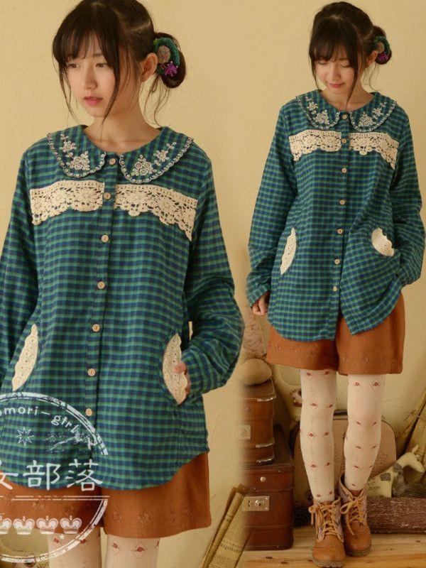 Lace plaid cotton shirt #asianicandy #lace #buttondown