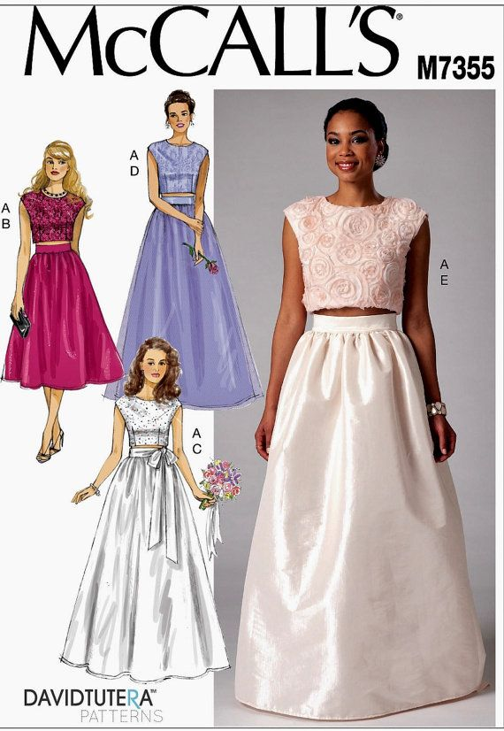 1668b029f1d7 Formal Skirt and Top Pattern, Wedding Gowns Pattern, McCall's Sewing Pattern  7355
