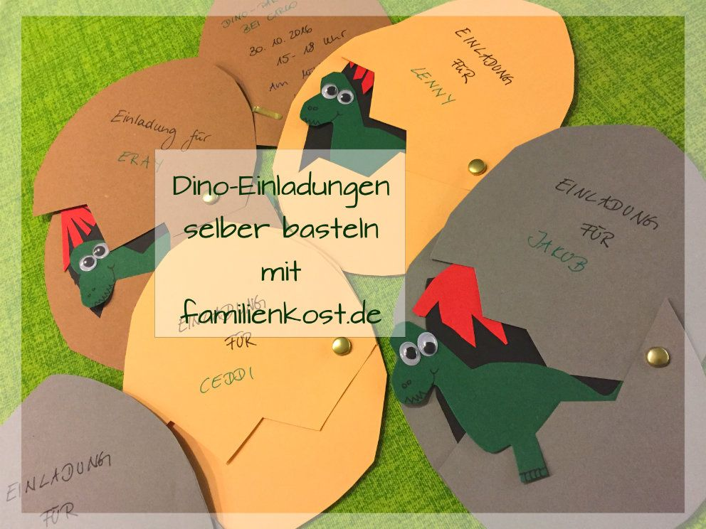dino-einladungskarten zur dinoparty selber basteln | einladung zum, Einladungen