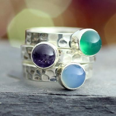 Amethyst stacking rings (Set of 3) - Inspirational | NOVICA