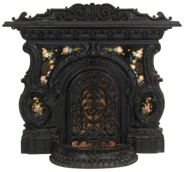 Lot: Rococo Cast Iron Fireplace Mantle, Lot Number: 0049, Starting ...