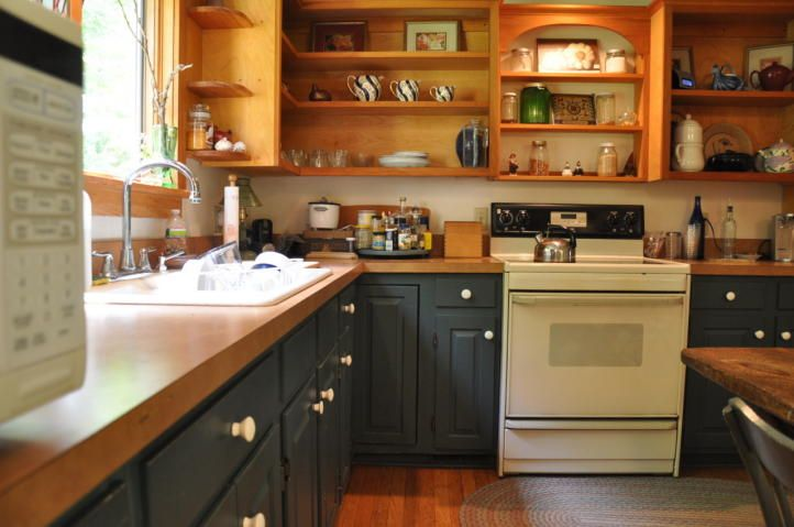 Best Two Tone Kitchen Dark Blue Base Cabinets And Natural 400 x 300