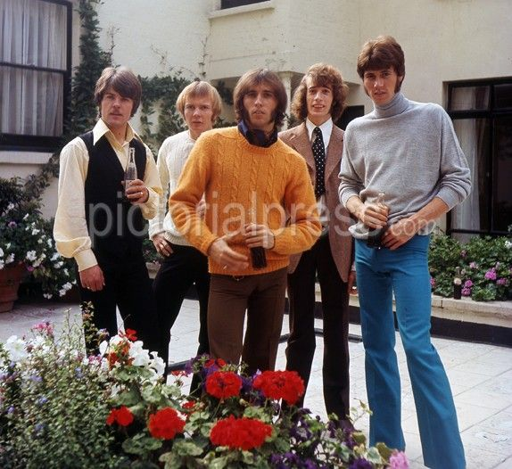 BEE GEES – in May 1968 from left: Vince Melouney, Colin Peterson, Maurice Gibb, Robin Gibb, Barry Gibb Photo Tony Gale