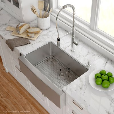 Kraus Handmade 16 Gauge Stainless Steel 29 75 X 20 A Front Farmhouse Kitchen Sink With Faucet Finish Chrome