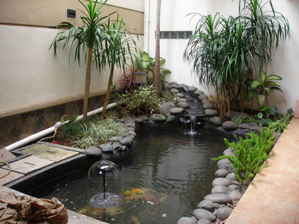Minimalist garden design with koi fish pond adorned for Pond yard design