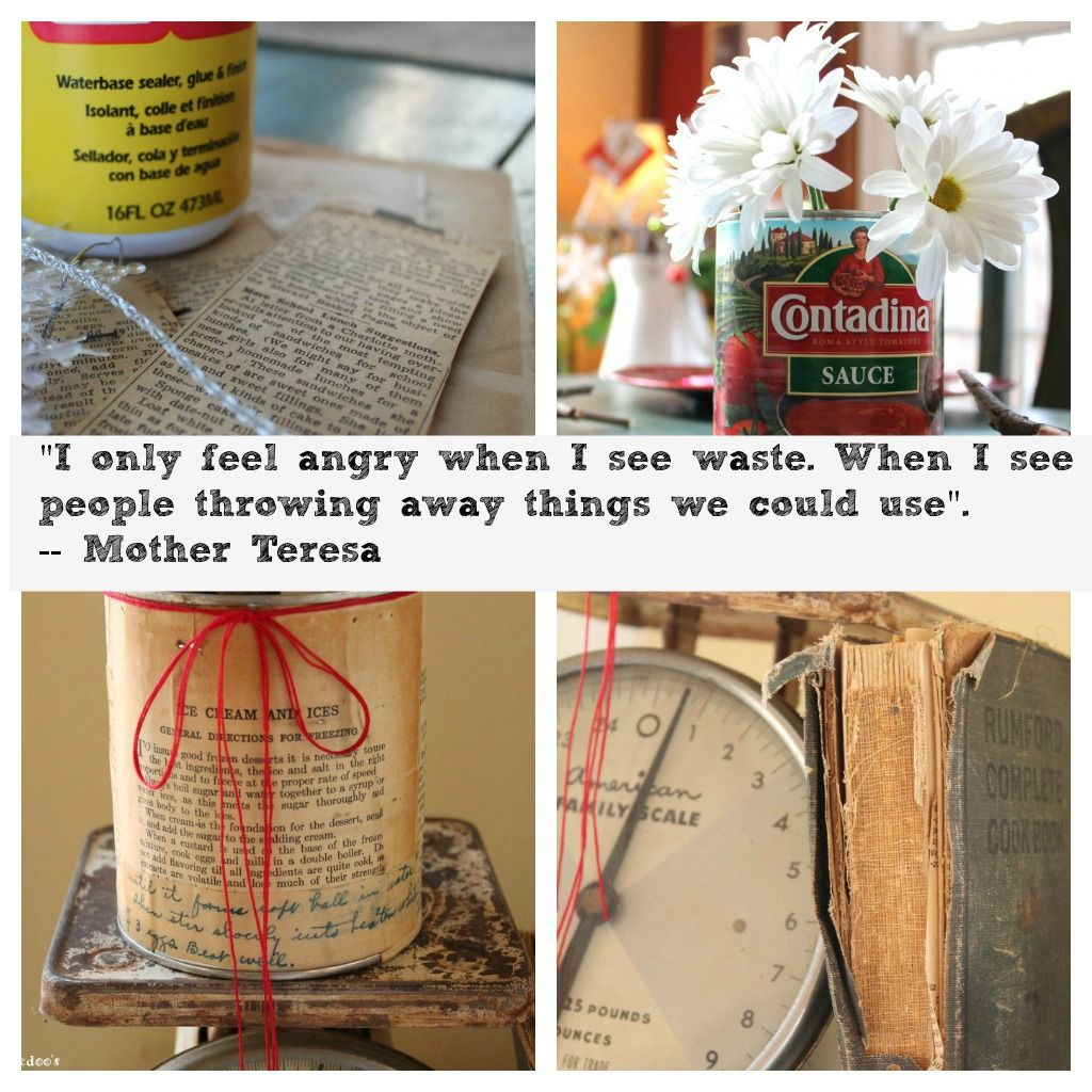 image vintage kitchen craft ideas. Mod Podged Recycled Can, With Vintage Cook Book Recipes Image Kitchen Craft Ideas F