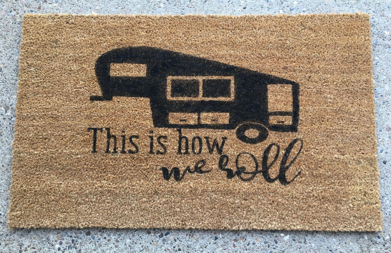Coir Door Mat Entry Doormat Funny Happy Camper RV Camping