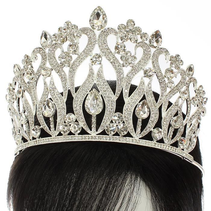 4.50 height crystal swirl crown tiara pageant