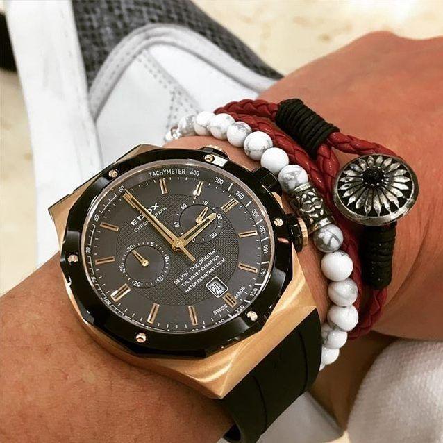 Edox Delfin Chronograph Black & Rose PVD #edox #edoxswisswatches #delfin #chronograph #mensfashion #menswatch #fashion #elegant #wotd #swisswatches #swissmade #watchesofinstagram #watchporn #watchuseek #watchfam #womw