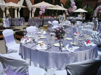 Purple Table Settings For Weddings | Chiavari Chairs, Chair Covers, Sashes, Table  Linens
