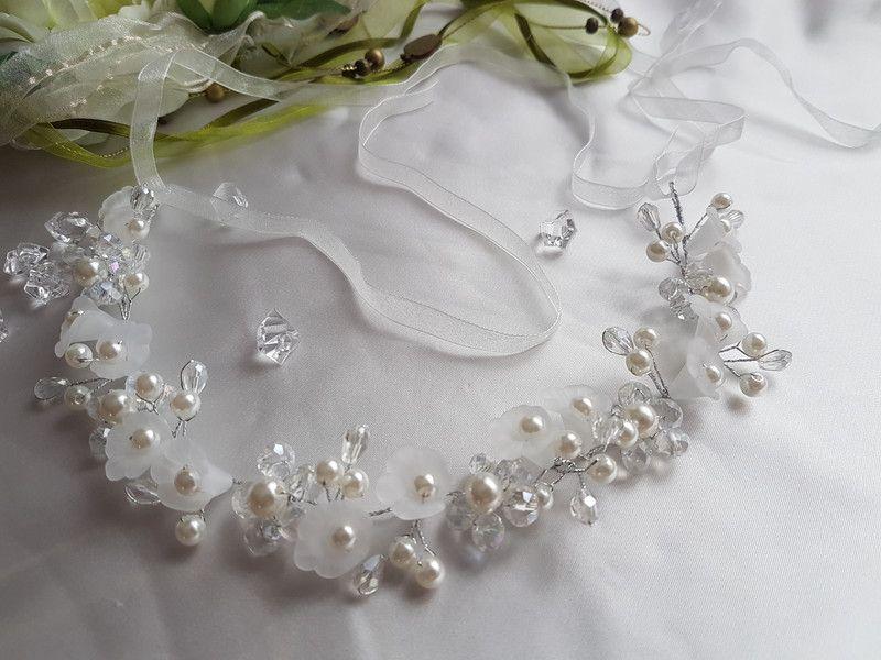 Braut haarschmuck mit perlen  Braut Haarschmuck mit Crystal +Perlen+Bänder | Braut haarschmuck ...