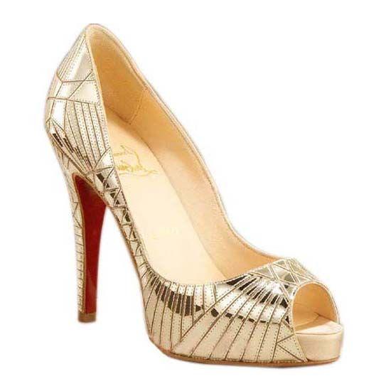 christian louboutin gold peep toe heels