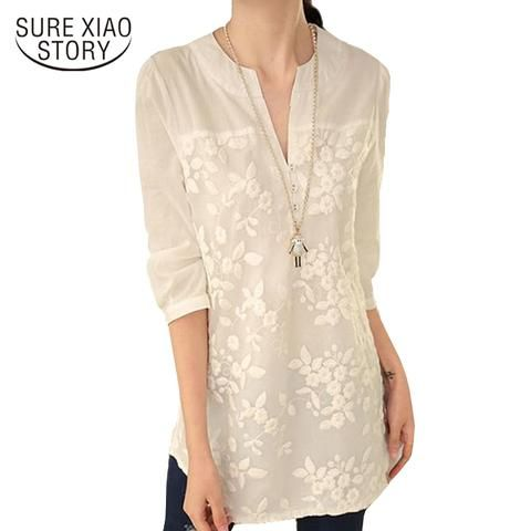 d99753550d1f0 New V-neck Organza Embroidered Shirt White Lace Blouse Top Plus Size Summer  Korean Women Blouse Flower Print Blouse 566F 25