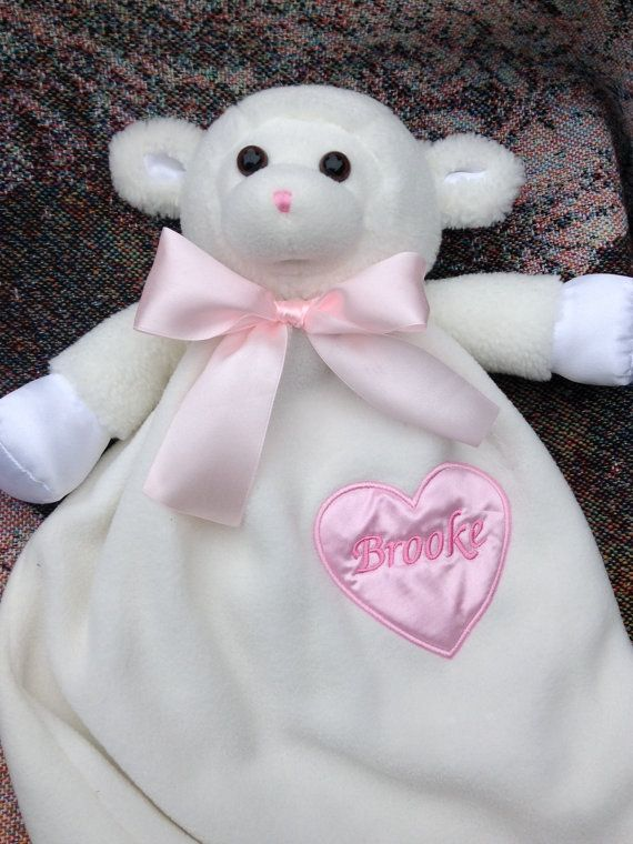 Monogrammed Baby Gift Personalized Lamb Security Blanket ...