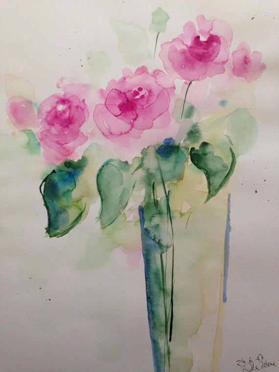 Original Watercolor Art Watercolor Painting Bouquet Flowers Of