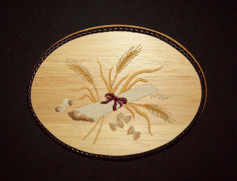 Tuscan Kitchen Wall Hanging, Embroidery Wood Art, Pasta Wall Art ...