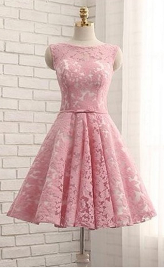Elegant Prom Dress,Lace Prom Gown,Short Homecoming Dress,Pink Party ...