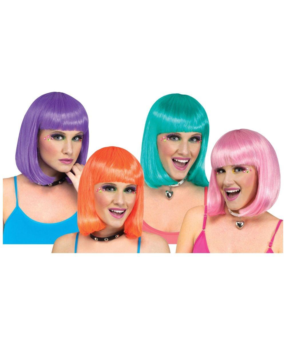 Fancy Dress Men Women Girls Wigs Afro Clown Mermaid Flapper Bright Katie Perry