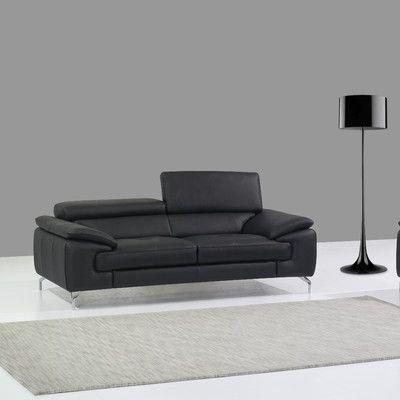 J M Furniture Italian Leather Sofa Upholstery Black